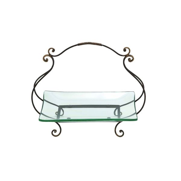 Iron and Glass Cartouche Plate Server