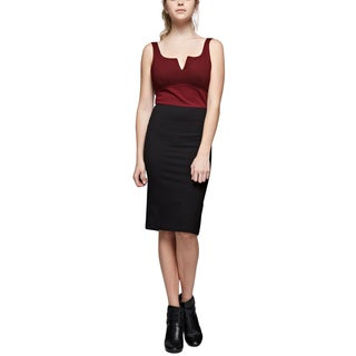 Six Crisp Days Hailey Burgundy Black Colorblock Dress