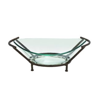Glass 26-inch x 9-inch Bowl with Metal Stand