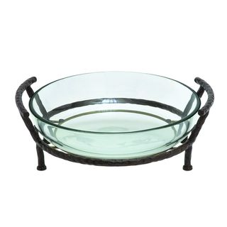 Iron and Glass Textured Design Round Fence 21-inch Bowl Server - Thumbnail 0