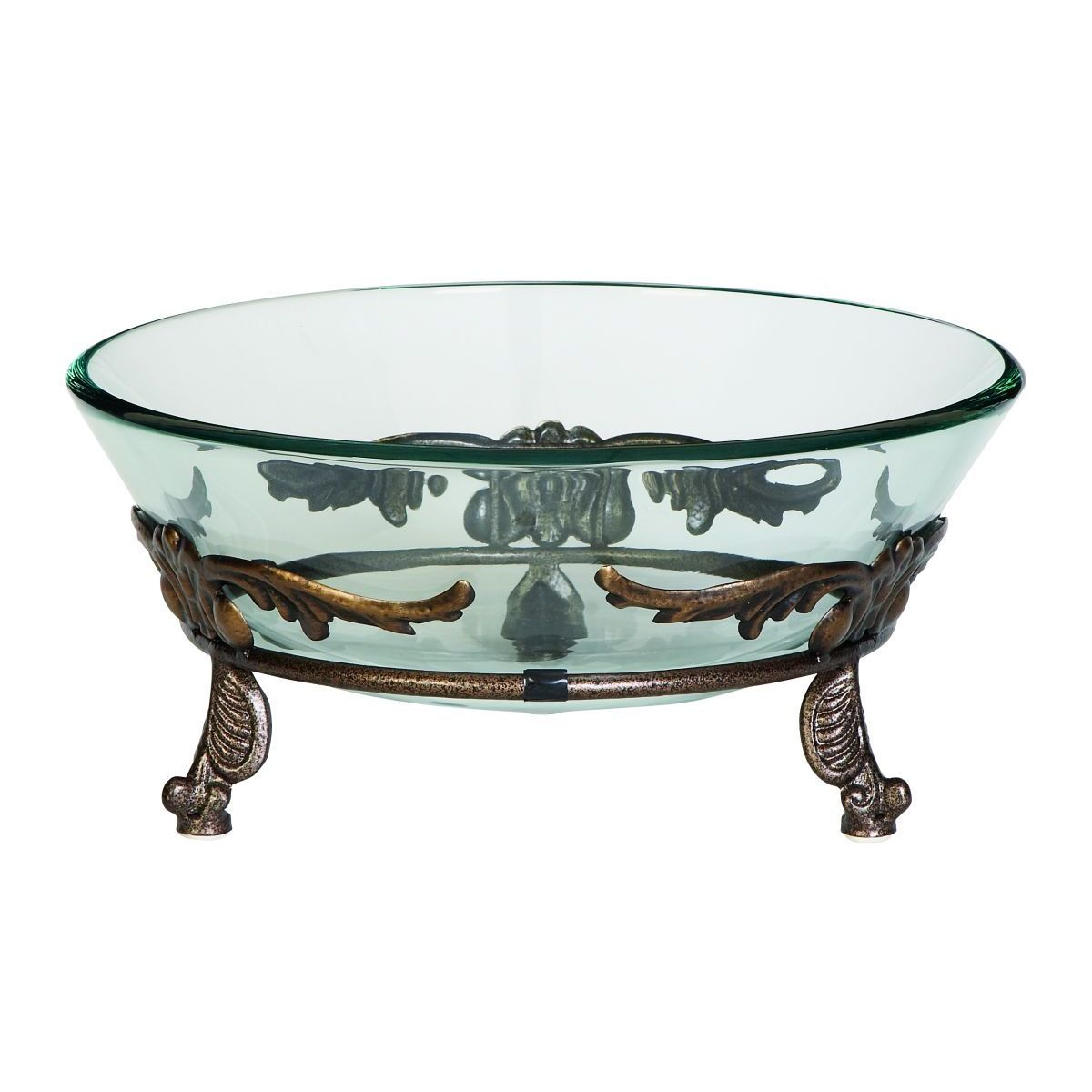 Iron and Glass Winged Scroll Bowl Server