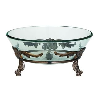 Iron and Glass Winged Scroll Bowl Server - Thumbnail 0