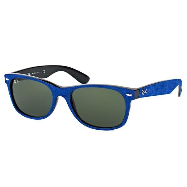 e1230c25719 Ray-Ban RB 2132 6239 New Wayfarer Alcantara Blue Plastic Wayfarer Green  Lens Sunglasses -