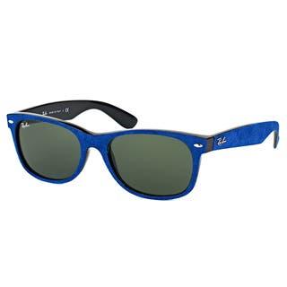 Ray-Ban RB 2132 6239 New Wayfarer Soft Touch Blue Plastic Wayfarer Green Lens 58mm Sunglasses|https://ak1.ostkcdn.com/images/products/12177394/P19028099.jpg?impolicy=medium