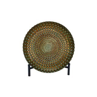 Rustic Elegance Beaded Opaque Round Glass Bowl with Stand