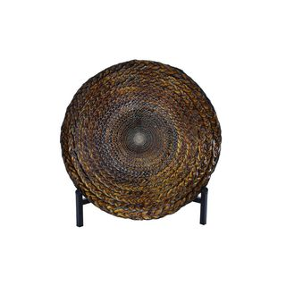 Brown Glass 16-inch Bowl With Iron Stand
