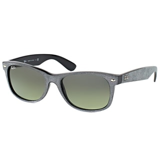 Ray-Ban RB 2132 624171 New Wayfarer Soft Touch Grey Plastic Wayfarer Grey Gradient Lens 55mm Sunglasses