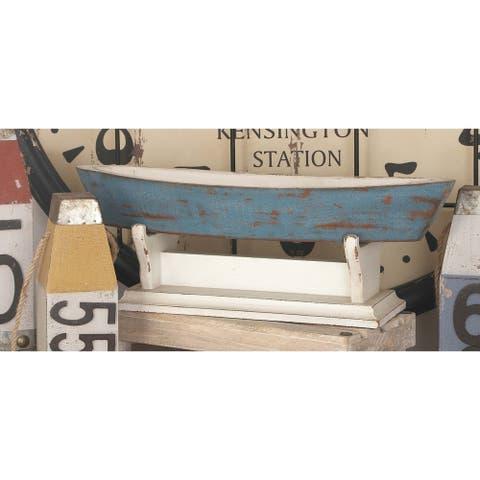 Coastal 8 x 22 Inch Blue Carved Wood Boat Bowl by Studio 350