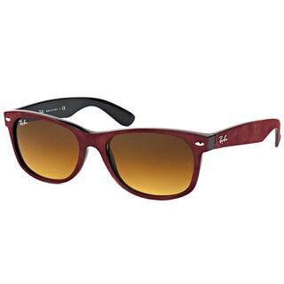 Ray Ban RB 2132 624085 New Wayfarer Alcantara Bordeaux Plastic Brown Gradient Lens 52mm Sunglasses