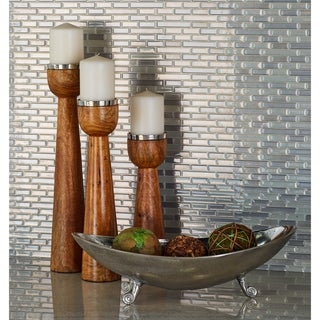 Rustic Elegance Distressed-finish Aluminum Oval Tri-footed Dishes (Set of 3)