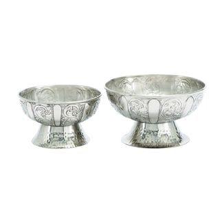 Classic Elegance Aluminum Pedestal Bowls (Set of 2)