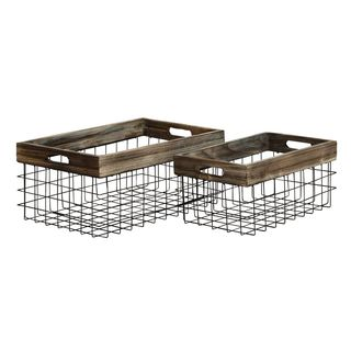 Farmhouse Rustic Iron and Wood Baskets (Set of 2)