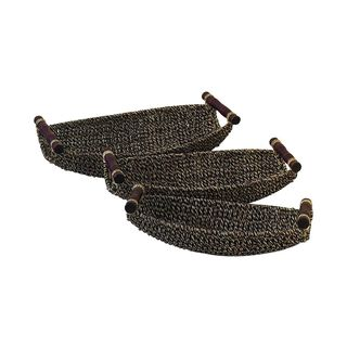 Globe Trotter Brown Seagrass/Metal 15-inch/17-inch/19-inch Baskets (Pack of 3)
