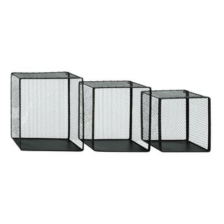 Shabby Chic Rustic Iron Wire Frame Wall Shelves (Set of 3)