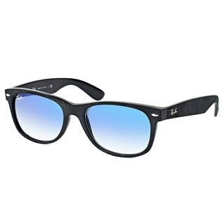 Ray-Ban RB 2132 62423F New Wayfarer Soft Touch Black Plastic Wayfarer Blue Gradient Lens Sunglasses