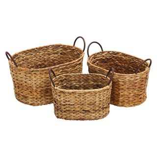 Globe Trotter Oval Wicker Baskets (Set of 3)