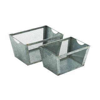 Grey Metal Wire Basket (Set of 2)