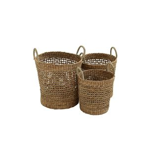 Seagrass 16-inch, 18-inch, and 21-inch Basket (Set of 3)