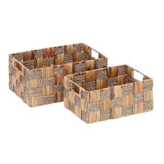 Globe Trotter Tan Metal/Wicker 13-inch/16-inch Baskets (Set of 2)