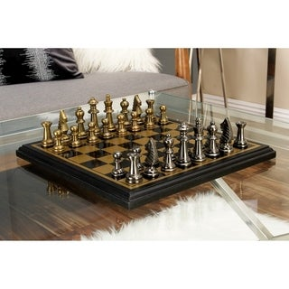 Black/Goldtone Wood/Aluminum 12-inch Chess Set