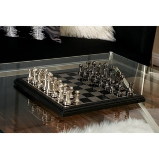 Contemporary 12 Inch Aluminum and Wood Chess Set by Studio 350 - Black