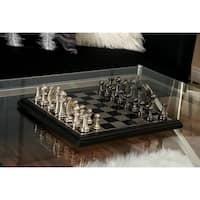 Contemporary 12 Inch Aluminum and Wood Chess Set by Studio 350 - N/A