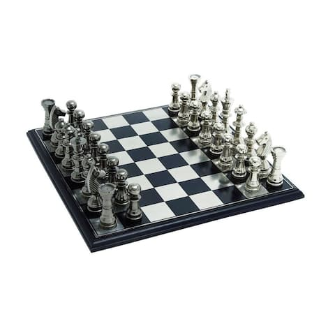 Aluminum, Wood 17-inch Wide x 6-inch High Chess Set
