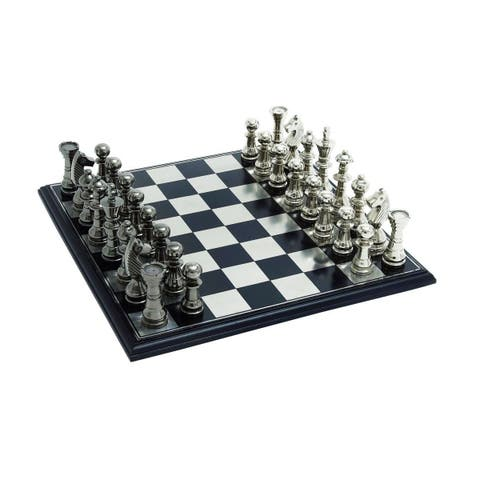 Aluminum, Wood 17-inch Wide x 6-inch High Chess Set.