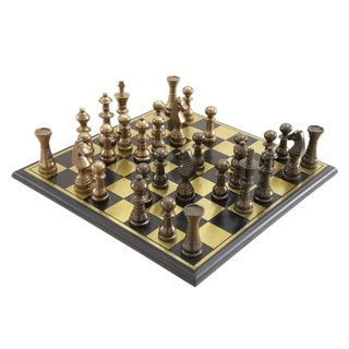 Aluminum Wood 17-inch-wide, 6-inch-high Chess Set