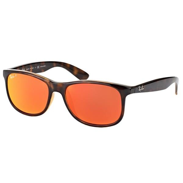 be4324c9f9 Ray-Ban RB 4202 710 6S Andy Shiny Havana Plastic Wayfarer Orange Mirror  Polarized