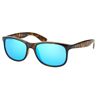 Ray-Ban RB 4202 710/9R Andy Shiny Havana Plastic Wayfarer Blue Mirror Polarized Lens Sunglasses