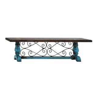 Blue/Green/Brown Wood and Metal Wall Shelf (32-inch x 8-inch)