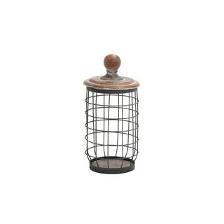 Metal Wood 7-inch-wide x 13-inch-high Wire Jar