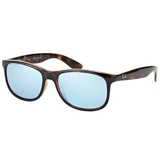 Ray-Ban RB 4202 710/Y4 Andy Shiny Havana Plastic Wayfarer Silver Mirror Polarized Lens Sunglasses