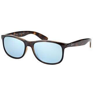 Ray-Ban RB 4202 710/Y4 Andy Shiny Havana Plastic Wayfarer Silver Mirror Polarized Lens Sunglasses