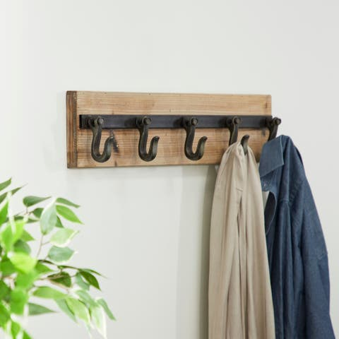 "24"" x 6"" Industrial Iron & Wood 5-Hook Wall Rack by Studio 450"