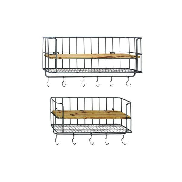 Iron and Wood Shelf and Hook Rack (Set of 2)