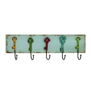 Distressed Wood/Painted Iron 24-inch x 5-inch Wall Hooks