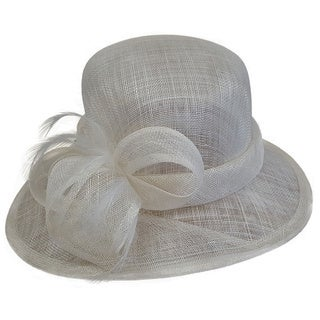 Swan Hat Solid Ivory Feather-Bow Dressy Derby Sinamay Hat