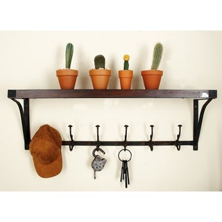 Metal/Wood Wall Shelf With Coat Hooks
