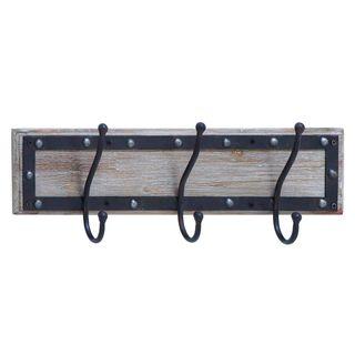 Black/Grey Wood/Metal 22-inch Wall Hook