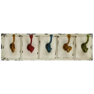 Wood and Metal 24-inch x 7-inch Wall Hook