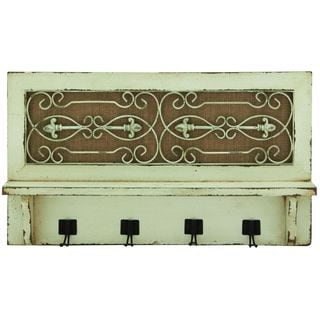 Distressed Wood and Wrought Iron Metal 24-inch x 14-inch Wall Hook Shelf