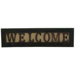 Wood and Iron 'Welcome' Wall Hook