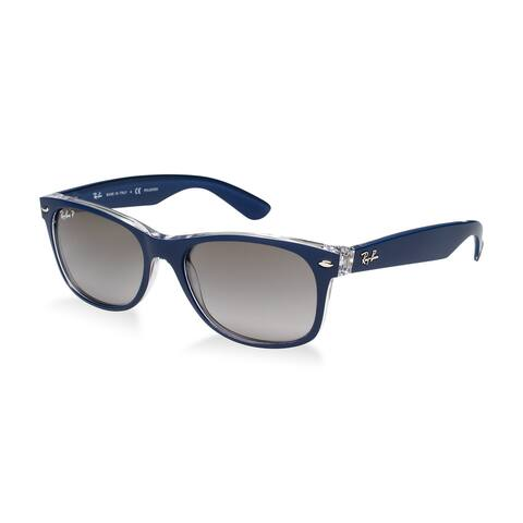 e4040f9400c2 Ray-Ban RB2132 6053M3 New Wayfarer Blue Clear Frame Polarized Grey Gradient  55mm Lens
