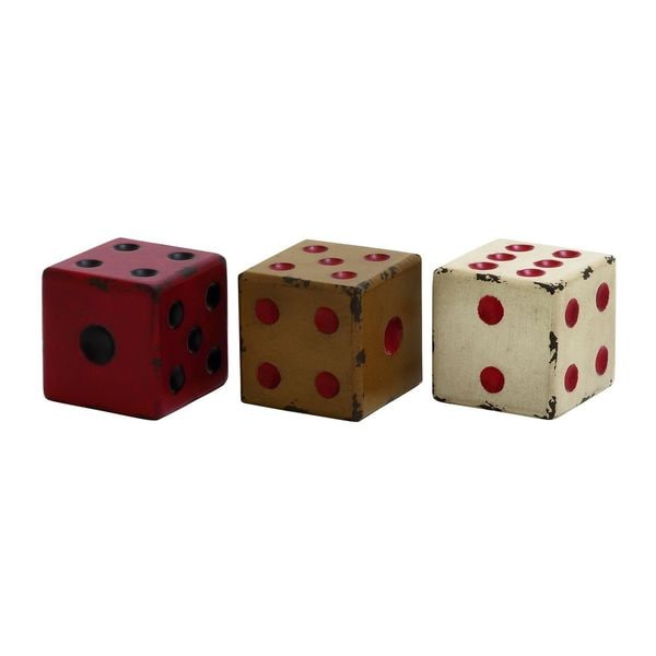 Assorted Wood 4-inch x 4-inch Decorative Dice (Pack of 3)