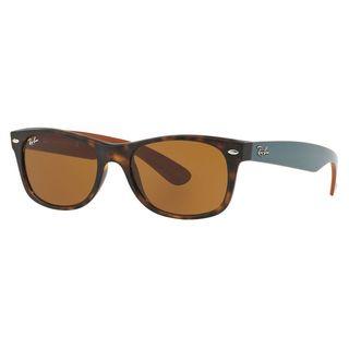 Ray-Ban RB2132 6179 New Wayfarer Tortoise/Green Frame Brown Classic 52mm Lens Sunglasses