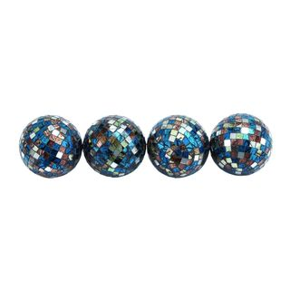 Multicolored PVC Mosaic 4-piece 4-inch Diameter Decorative Ball Set