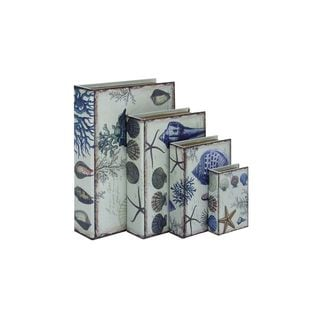 Wood/Leather 6-inch/9-inch/12-inch/15-inch Ocean-themed Book Boxes (Set of 4)