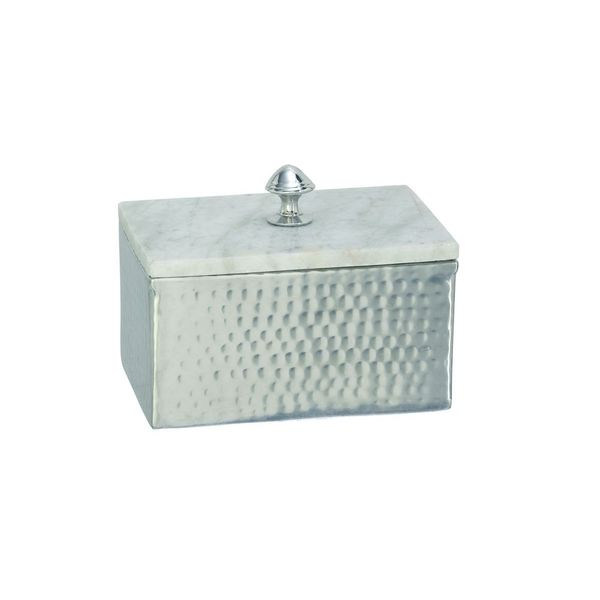 Silver Orchid Olivia Rustic Reflections Aluminum and Marble Box